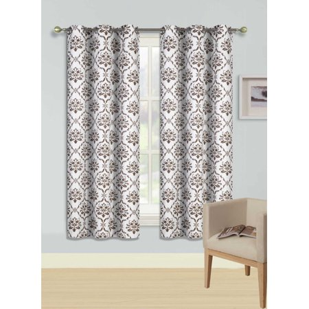 F4 Brown 2-Pc Printed Blackout Room Darkening Window Curtain Treatment, Set Of Two (2) Floral Swirl Insulated Thermal Panels 37