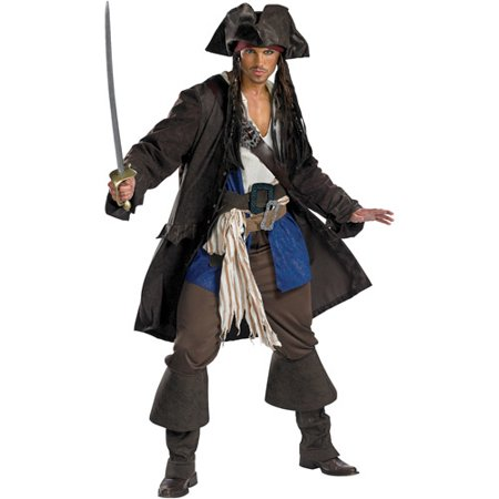 Disney Pirates Of The Caribbean Captain Jack Sparrow Prestige Premium Costume, XX-Large (50-52)