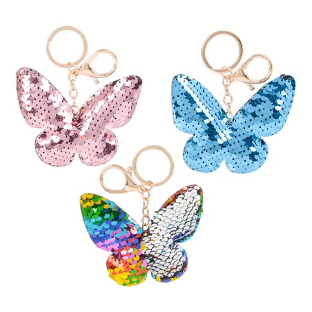 Rhode Island Novelty Rhode Island Novelty Flip Sequin Plush Rainbow Silver Magical Butterfly Keychains (3pc Set) Fashion Accessories