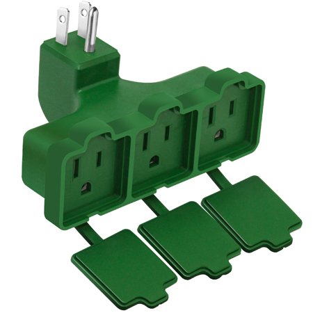 Kasonic 3-Outlet Wall Plug Adapter, Indoor/Outdoor Use, UL Listed, Heavy Duty Multi Outlet Power Extender, Safe Cover and All Weather Resistant for Home, Office, Garage, Patio (Green)