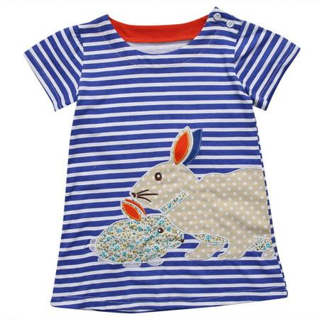 Toddler Baby Girls Summer Dress Kawaii Kids Girl Short Sleeve Rabbit Bunny Striped Dresses for 2-7Y Children (Drees For Kids)