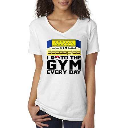 New Way 517 - Women's V-Neck T-Shirt I Go To The Gym Every Day