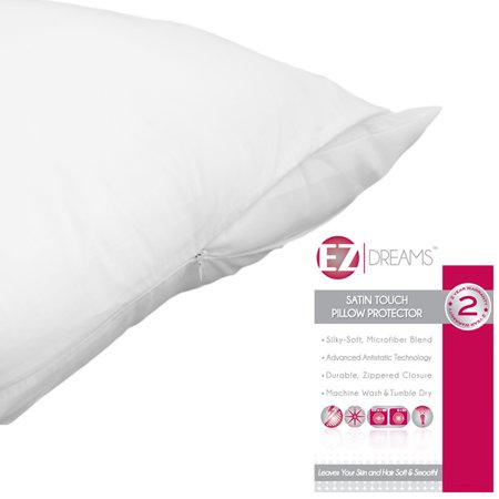 EZ Dreams Antistatic Zippered Pillow Protector: Satin Touch Microfiber, King Size (King Single Piece) (Sateen Single)