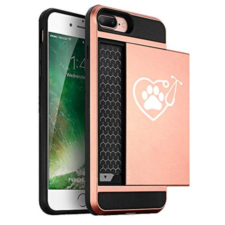 Wallet Credit Card ID Holder Shockproof Hard Case Cover for Apple iPhone Heart Stethoscope Vet Tech Veterinarian (Rose-Gold, for Apple iPhone 7 / iPhone 8) (Vet Tech Cards)