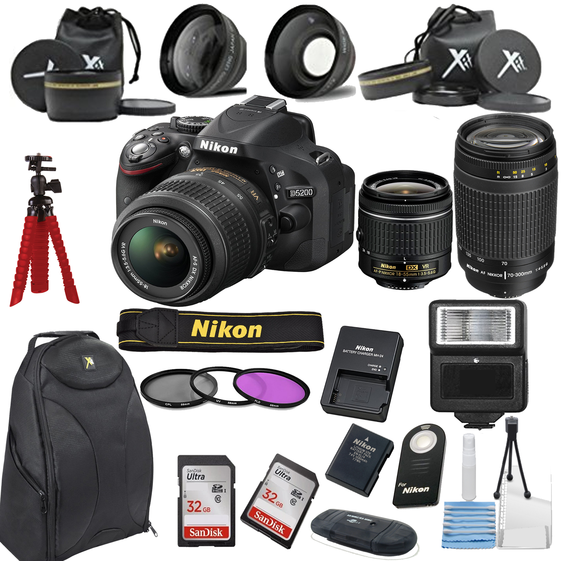 Nikon D5200 24.1 MP DSLR Camera + 18-55mm VR Lens Kit + 7...