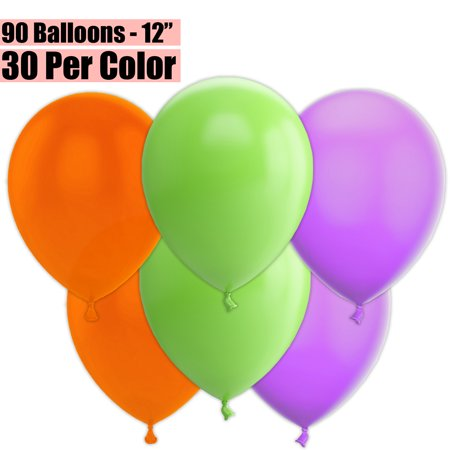 12 Inch Party Balloons, 90 Count - Orange + Lime Green + Lavender - 30 Per Color. Helium Quality Bulk Latex Balloons In 3 Assorted Colors - For Birthdays, Holidays, Celebrations, and More!!](Green Helium Balloons)