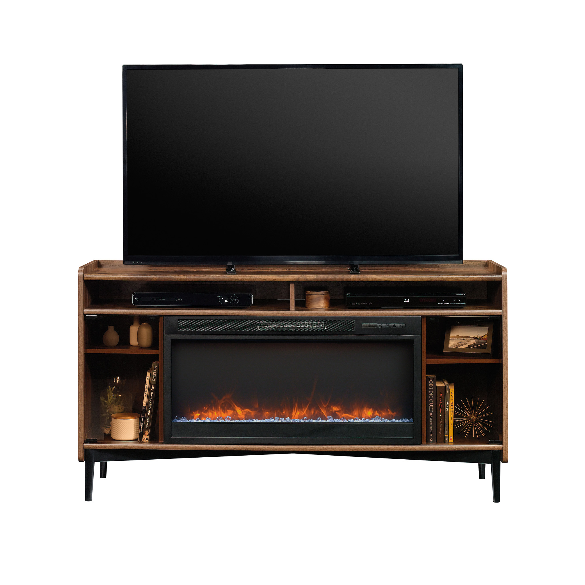 "Better Homes & Gardens Montclair Entertainment Fireplace Credenza for most 60"" Flatscreen TVs up to 70 lbs, Vintage Walnut Finish"