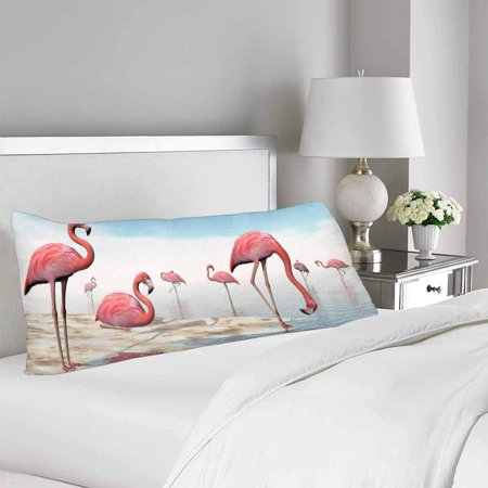 GCKG Flock of Pink Flamingos Body Pillow Covers Pillowcase 20x60 inches, Daylight Beach Body Pillow Case Protector - image 1 de 2