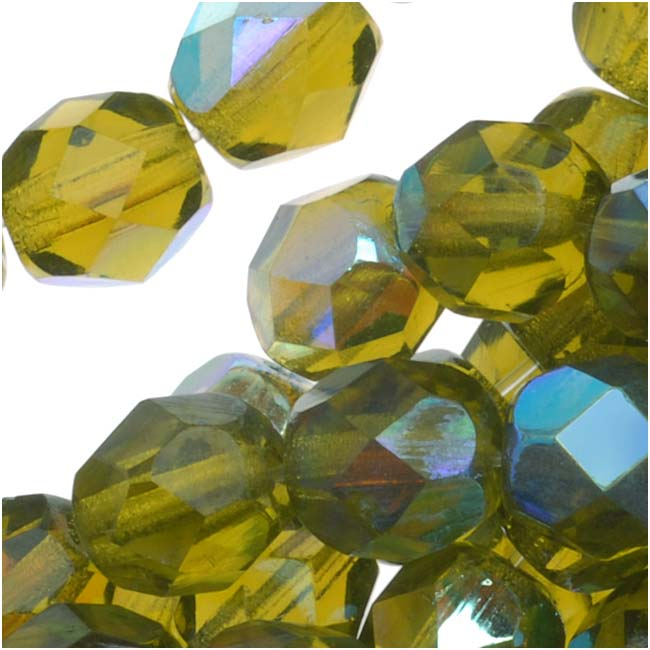 Czech Fire Polished Glass Beads 6mm Round Olivine AB (25)