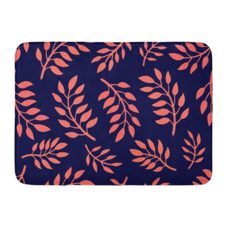 GODPOK Black Beautiful Floral Pattern Bright with Branches in Coral and Navy Colors Manufacturing Pink Beauty Rug Doormat Bath Mat 23.6x15.7 inch (Black Coral Branch)