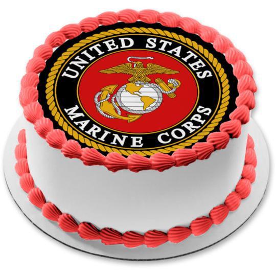 UNITED STATES MARINE Edible Cake Topper Frosting Sheet  quarter /& half sheet