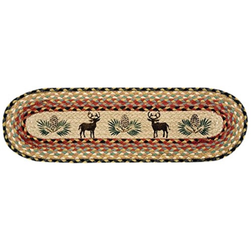 Earth Rugs 49-ST057 Deer and Pinecone Printed Oval Stair Tread, 8.25 by 27""