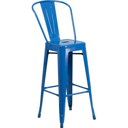 3 BARSTOOL SET BLUE Steel High Back Stack Indoor-Outdoor Bar Footrest Retro New Steel Outdoor Stacking