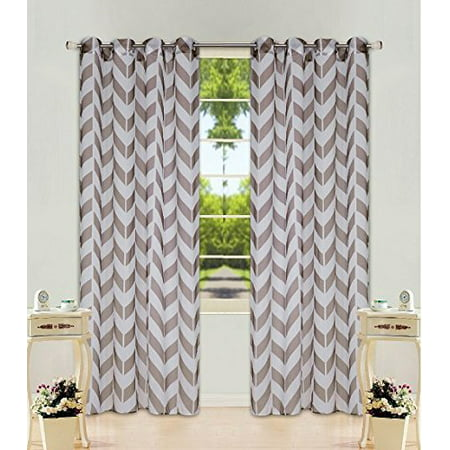 2 Panel Chevron Brown Two-Tone Pattern Design Voile Sheer Window Curtain 8 Silver Grommets 55