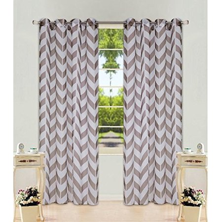 "1 Panel Chevron Brown Two-Tone Pattern Design Voile Sheer Window Curtain 8 Silver Grommets 55"" W X 63"""