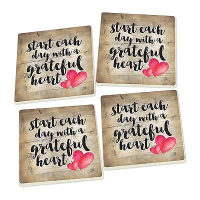 START EACH DAY WITH GRATEFUL HEART Ceramic Coasters, Set of 4, by P. Graham