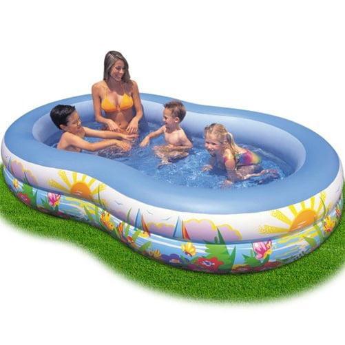 Intex 8.6' x 5.25' x 1.2' Paradise Lagoon Inflatable Kiddie Swimming Pool
