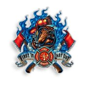 Erazor Bits Firefighter First In Last Out Reflective Vinyl Decal, 6""