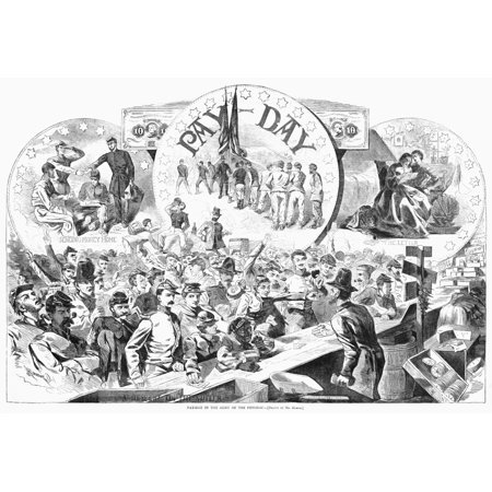 Civil War Pay Day 1863 NA Descent On The Sutler Pay Day Activities In The (Union) Army Of The Potomac Wood Engraving After Winslow Homer 1863 Poster Print by Granger