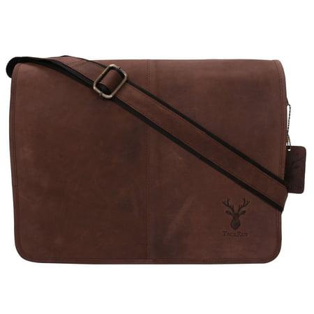 Genuine Leather Expandable Portfolio Messenger Shoulder Bag Brief Case (Expandable Flap Computer Brief)