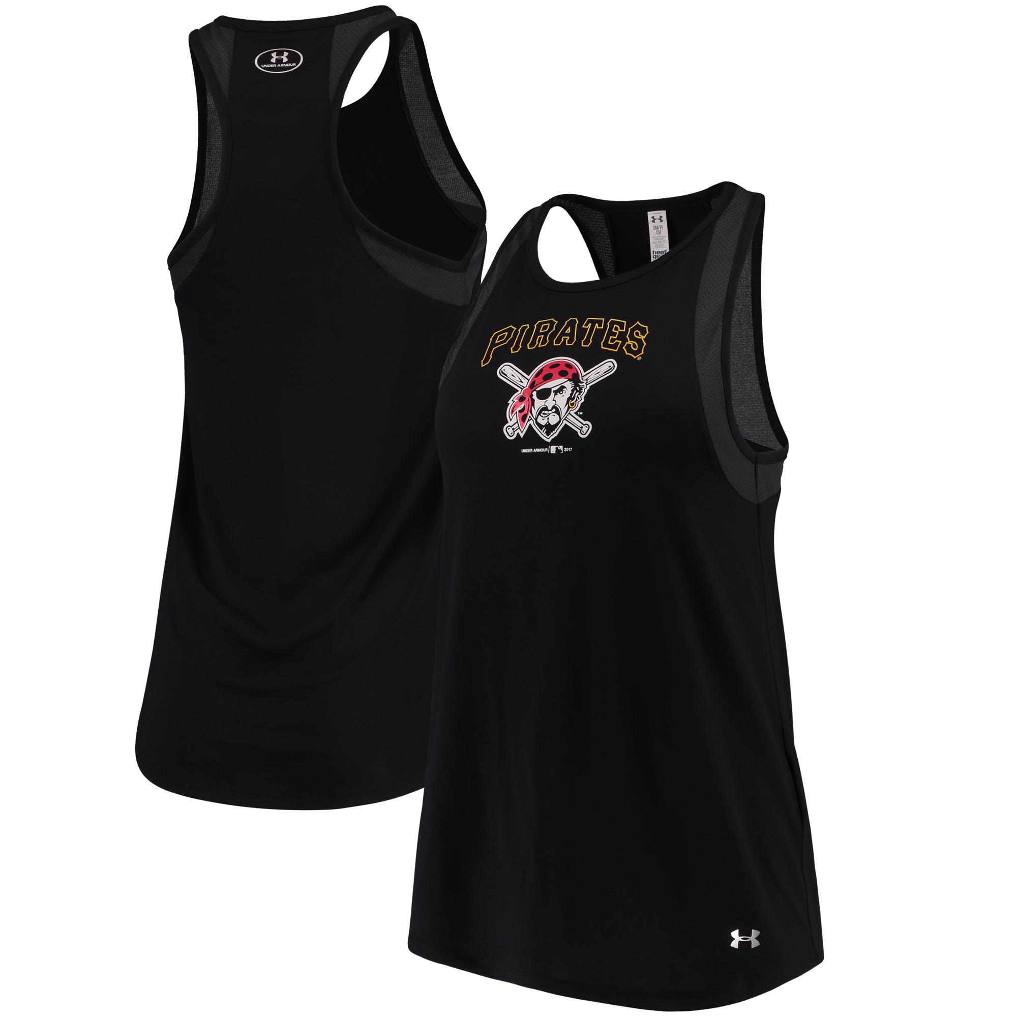 Pittsburgh Pirates Under Armour Women's Pointelle Mesh Performance Tank Top - Black