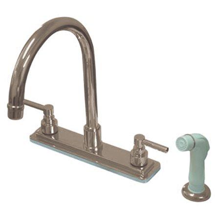 Centerset Exposed Deck (Kingston Brass KS879.EL Elinvar Centerset Kitchen Faucet with Deck Plate,)