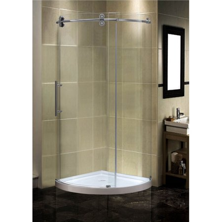 Aston Orbitus 40'' x 40'' x 75'' Completely Frameless Round Shower Enclosure with Base, Left Hand 40' Round Shower Tray