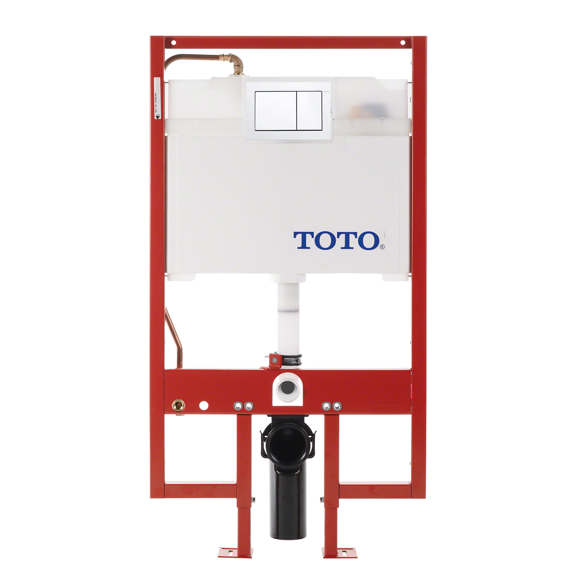 TOTO® DuoFit® In-Wall Dual Flush 0.9 and 1.6 GPF Tank System Copper Supply line and White Rectangular Push Plate - WT152800M#WH