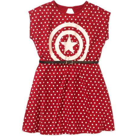 Captain America Girls' Shield Logo and Polka Dots Short Puff Sleeve Graphic Dress With Pleather Belt