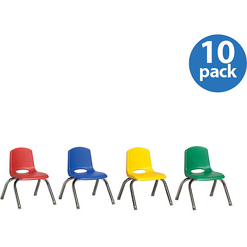 "Stackable 10"" School Chairs with Glides, Assorted Colors, Set of 10"