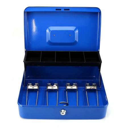 "12"" 4 Bills 5 Coins Portable Security Lock Cash Box Tiered Tray Money Drawer Storage Works Compatible Epson POS Printers - image 10 de 11"