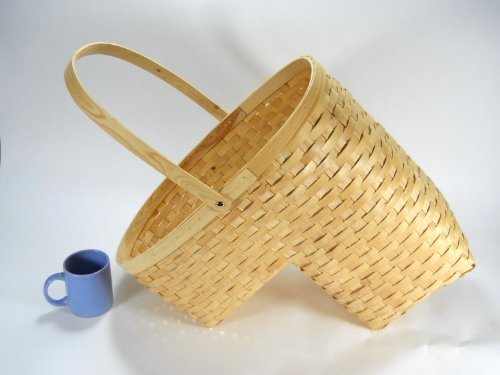Woven Wicker Stair Step Basket w Handle Large size by Island Imports dcmach