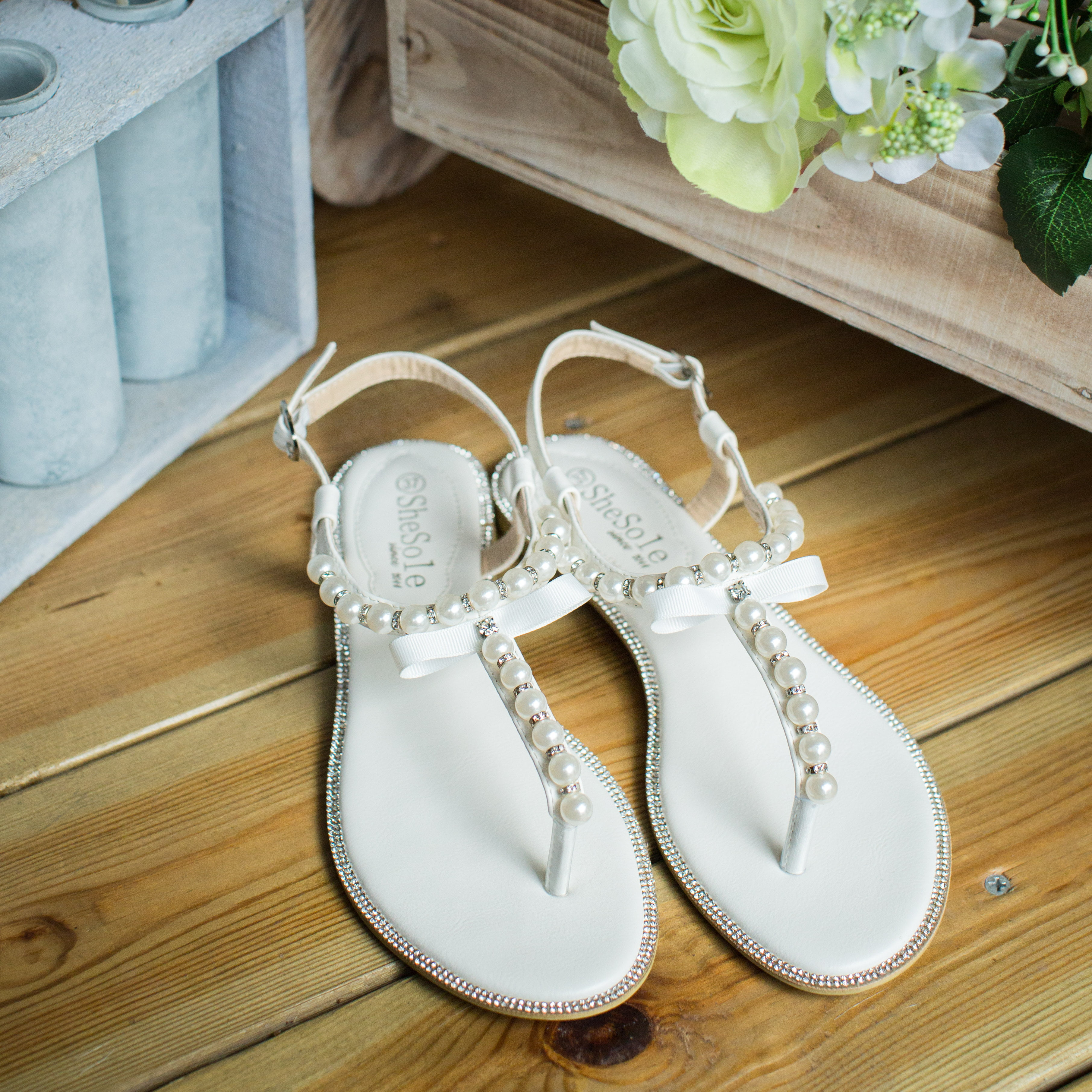 6bafb0203 SheSole - SheSole Women s Flat Bridal Beach Wedding Sandals for Bride Shoes  Pearl T-Strap - Walmart.com