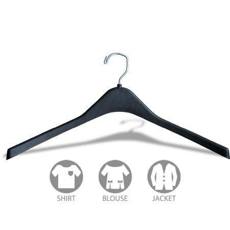 Matte Black Plastic Curved Top Hanger, Box of 100 Durable 1/2 Inch Coat Hangers w/ 360 degree Chrome Swivel Hook for Coat or Jacket, by International Hanger
