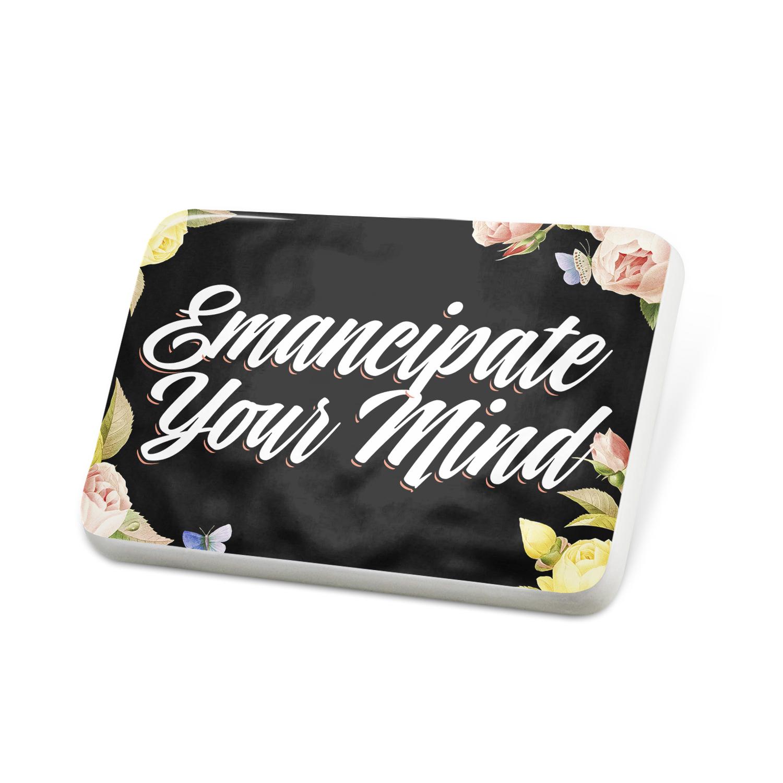Porcelein Pin Floral Border Emancipate Your Mind Lapel Badge – NEONBLOND
