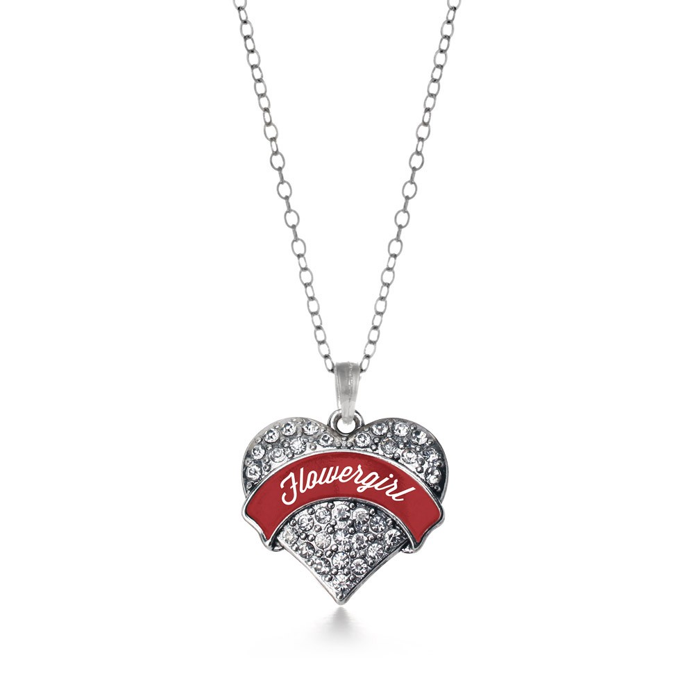 Crimson Red Flower Girl Pave Heart Necklace