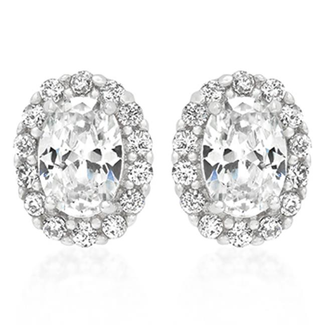 Genuine Rhodium Plated Estate Earrings with Clear Round Cut and Oval Cut Cubic Zirconia in Silvertone