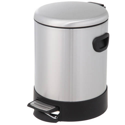 HomeZone VA41314A 5 Liter Stainless Steel Round Step Trash Can With Dome Lid
