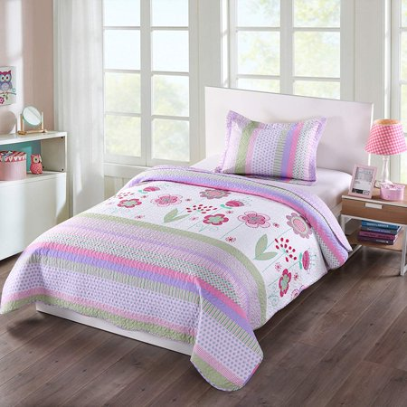 MarCielo 2 Piece Kids Bedspread Quilts Set Throw Blanket for Teens Girls Bed Printed Bedding Coverlet, Twin Size, Purple Floral Striped (Twin) ()