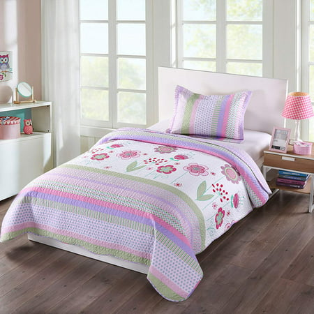 MarCielo 2 Piece Kids Bedspread Quilts Set Throw Blanket for Teens Girls Bed Printed Bedding Coverlet, Twin Size, Purple Floral Striped (Twin) - Tween Girls