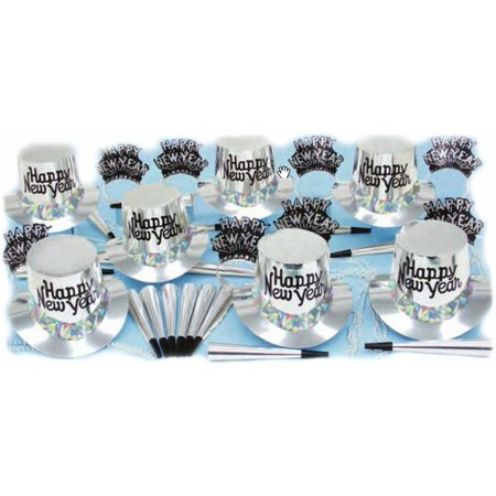 New Years Eve Party Supplies (Silver New Years Eve Party Accessories Kit Party Supplies for 25 People with Balloons)