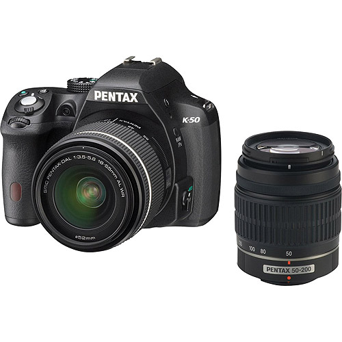 Pentax Black K-50 Digital SLR Camera with 16.3 Megapixels and 18-55mm and 50-200mm Lenses Included