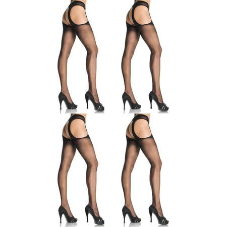 Leg Avenue Women's Plus Size Sheer Garter Belt Pantyhose,Black, 4-Pair (Leg Avenue Satin Garter)