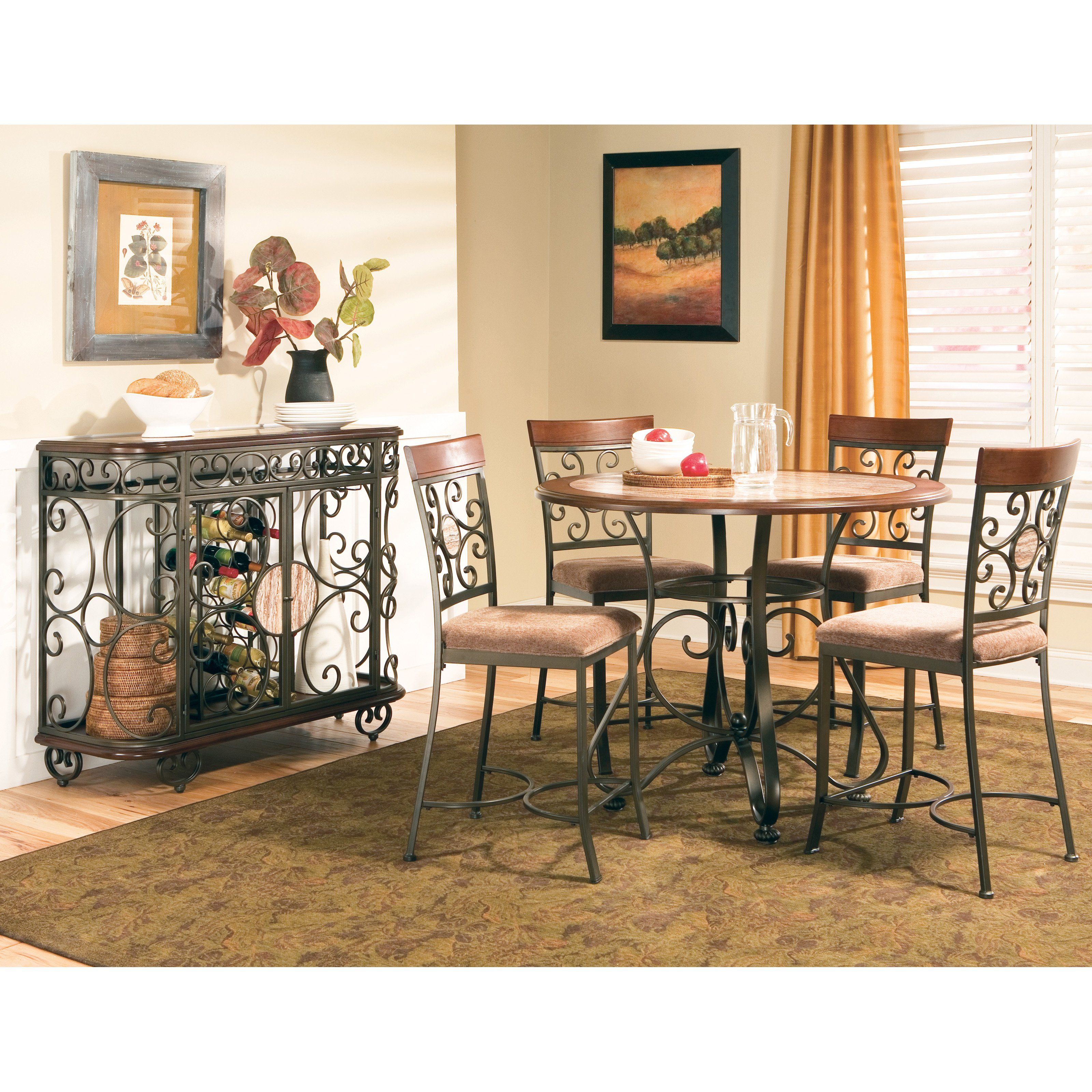 Steve Silver 5 Piece Thompson Counter Height Dining Table Set Cherry by Steve Silver Co