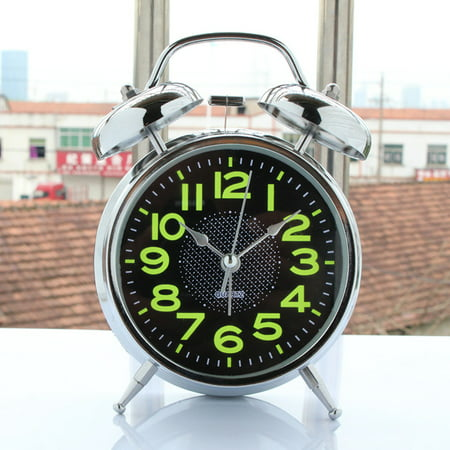 4inch Old Fashioned Electrosilvering Metal Alarm Clock with Night Light Gift Old Fashion Alarm Clock
