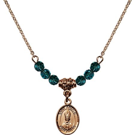 18-Inch Hamilton Gold Plated Necklace with 4mm Blue December Birth Month Stone Beads and Saint Anselm of Canterbury Charm