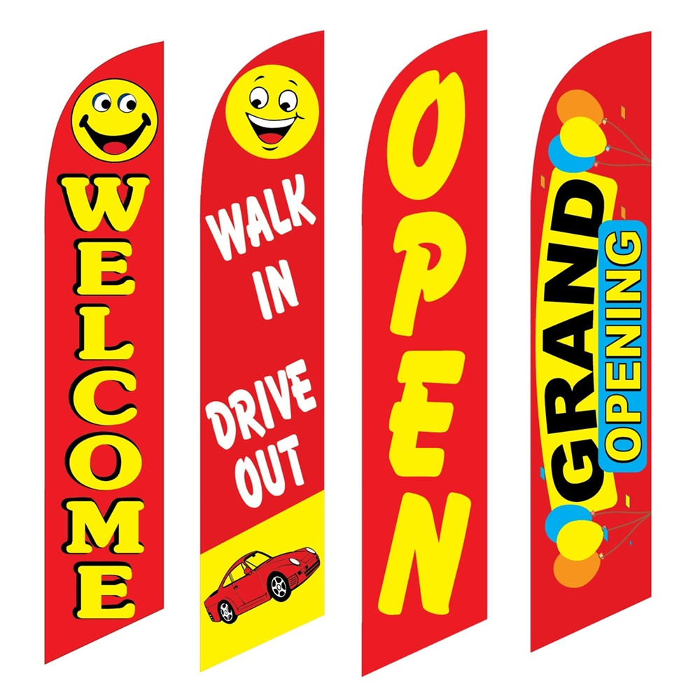 4 Advertising Swooper Flags Welcome Walk In Drive Out Open Grand Opening