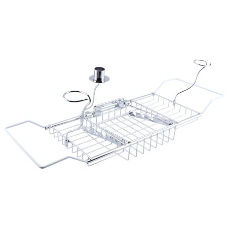 TMISHION Stainless Steel Extending Shower Organizer Bathtub Tray Caddy with Removable Bathroom Wine Glass Racks and Book Holder