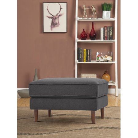 Lifestyle Solutions Tanany Mid-Century Modern Design Upholstery Fabric Ottoman, Heather Grey ()