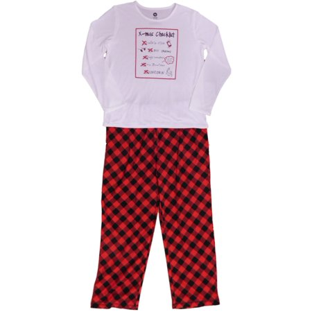 Girls X-Mas Checklist Pajamas Fleece BFF Unicorn Ugly Sweater Sleep Set